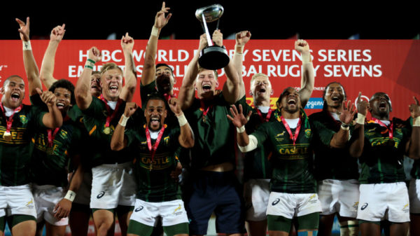 South Africa celebrates winning Dubai Sevens in 2019